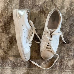 Steve Madden Rezza White and Silver Sneakers